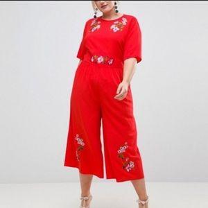 ASOS plus size red jumpsuit